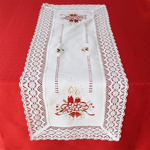 Tischläufer Mitteldecke Weihnachten Kerzen Stick & Häkelspitze 40x110 cm weiß
