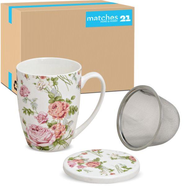 Teetasse Teebecher Rosenblüten 36 Stk. Karton Deckel & Sieb Porzellan 300ml
