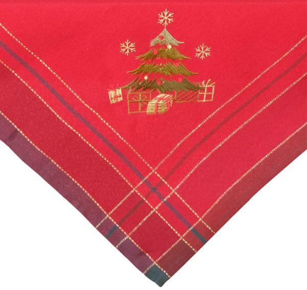 Tischdecke Mitteldecke Weihnachten Christbaum gestickt 85x85 cm rot bunt gold