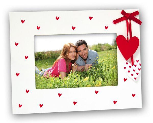 Bilderrahmen Fotorahmen Wechselrahmen Holz weiß Herzen Herzhängern & Schleife rot