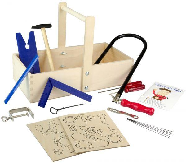 Werkzeugkiste für Kinder mit Werkzeug & Sägeblätter & Laubsägevorlagen A4