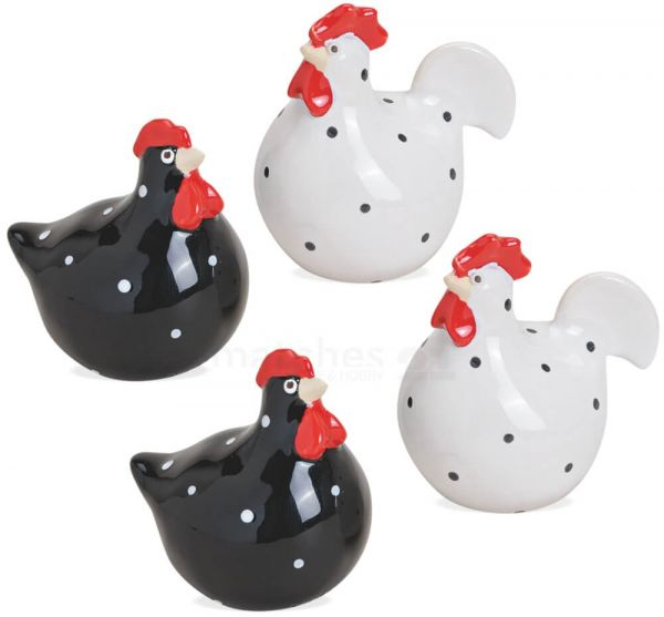 Hühner Keramik Figuren Ostern Frühling Deko weiß & schwarz 4er Set 6 cm