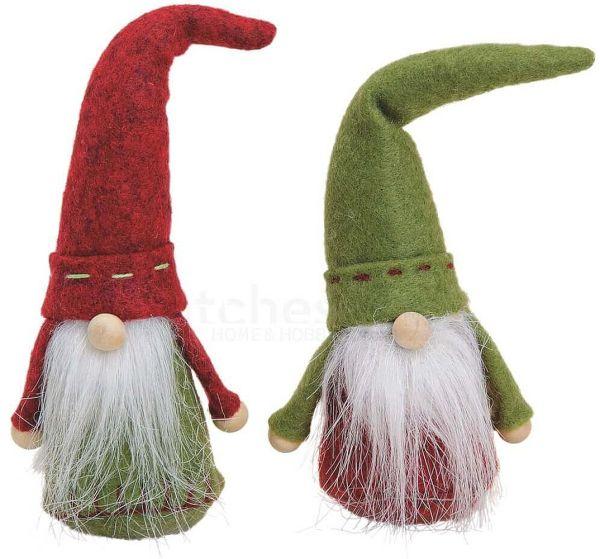 Weihnachtswichtel Wichtel aus Filz rot / grün Weihnachtsdeko Advent 2er Set 17 cm
