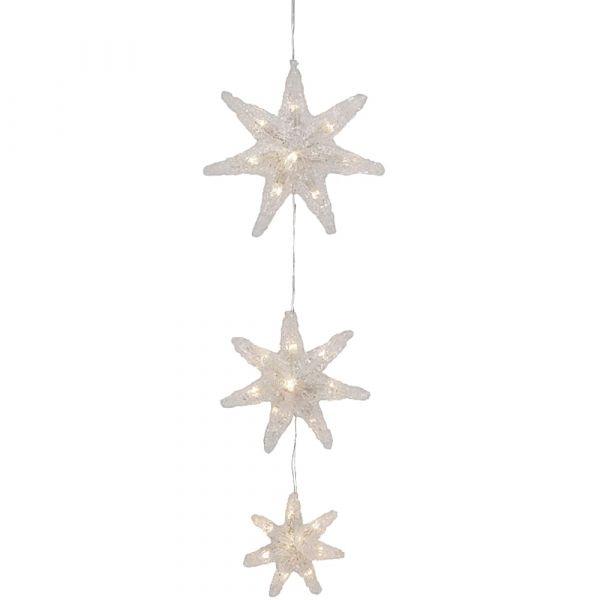 Stern Hängedeko / LED Dekohänger transparent / warmweiß mit Schalter & Timer