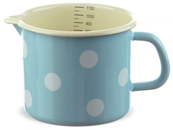 Email Milchtopf mit Skala blau gepunktet Emaille Topf / Messbecher Ø 12 cm 1000 ml