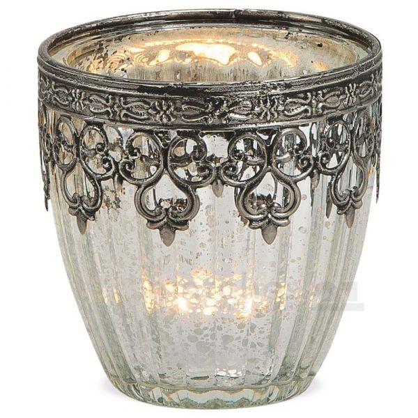 Teelichtglas Windlicht Orientalisch Marokko & Metalldekor silber antik 9 cm