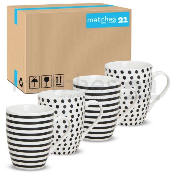 Tassen Becher Streifen & Punkte schwarz / weiß Porzellan 48 Karton 10 cm / 300 ml