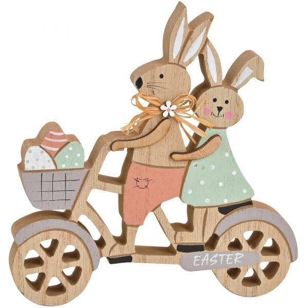 Osterhasen auf Fahrrad Ostern Holz Dekofigur Hasen Deko bunt 1 Stk 16x17 cm