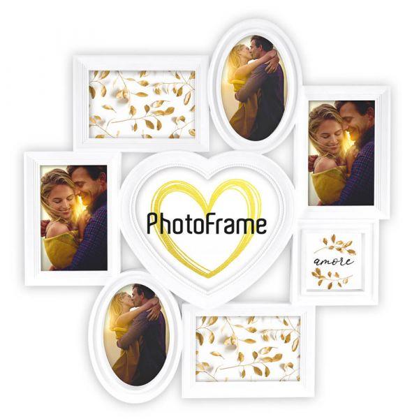 Collage 8 Fotos Rahmen Fotogalerie Kunststoff weiß Herzform oval eckig quadratisch