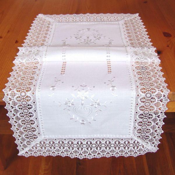 Tischläufer Mitteldecke Stick Hohlsaum Spitze wollweiß Tischwäsche 40x90 cm 1 Stk