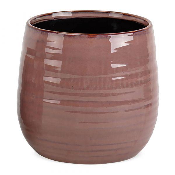 Pflanztopf leichte Rillenstruktur Übertöpfe Keramik rund altrosa 1 Stk Ø 15x13 cm