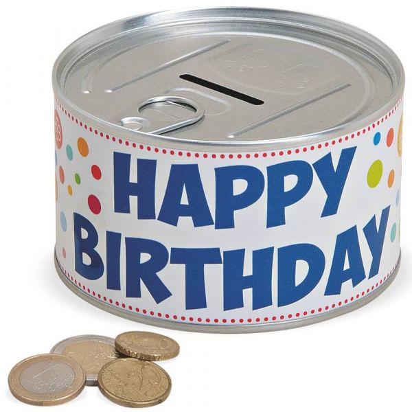 Spardose Blechdose & Aufreißverschluss Geldgeschenk – Happy Birthday – Ø 10 cm
