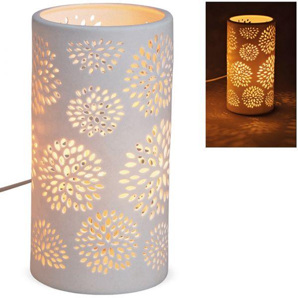 Tischlampe Nachttischlampe Blumen Dekor 230 V Porzellan weiß 1 Stk - Ø 10x20 cm
