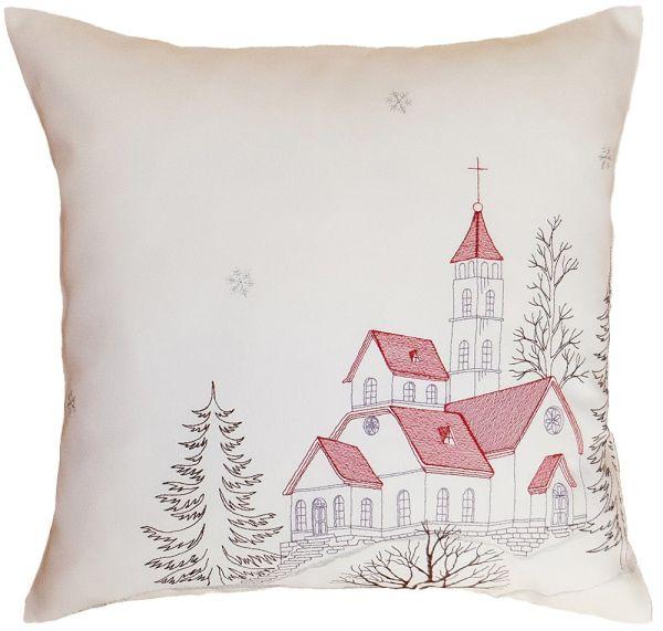 Kissenbezug Kissenhülle Motiv Kirche Weihnachten Stickerei 40x40 cm beige rot