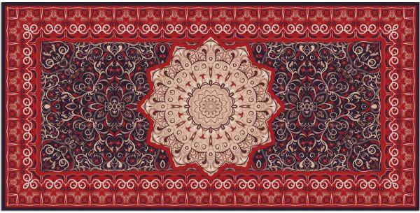 Teppichläufer Küchenläufer Teppich Perser Ornamente Stern rot waschbar 60x120 cm