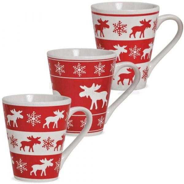 Tasse Weihnachtstasse Keramik Elch / Elche rot / weiß 1 Stk ** B-Ware **