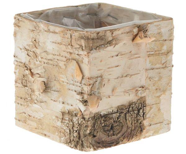 Birken Holz Pflanztopf eckig natur braun aus Birkenrinde foliert 1 Stk 9,5x9,5 cm