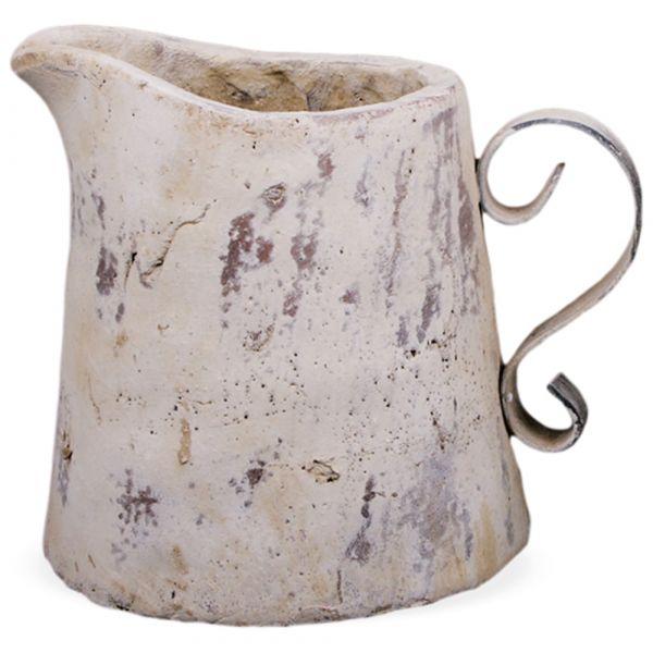 Krug Kanne Henkel Blumentopf Pflanztopf Keramik Shabby creme 1 Stk - 23x18,5x19,5 cm