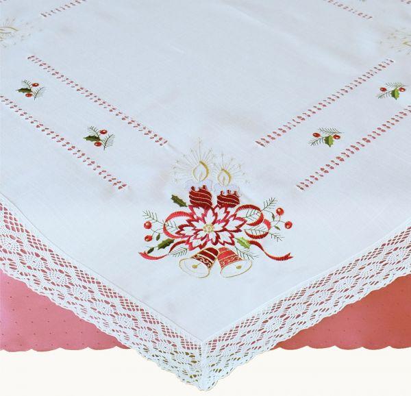 Tischdecke Mitteldecke Weihnachten Kerzen Stick & Häkelspitze 85x85 cm weiß