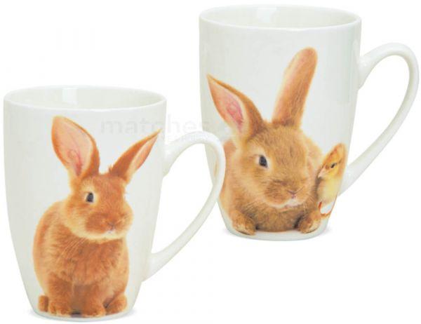 Tasse Kaffeetasse Osterhase & Küken Porzellan weiß / Foto 1 Stk **B-Ware**
