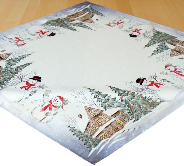 Tischdecke Mitteldecke Weihnachten Schneemänner Winter Druck 85x85 cm weiß bunt