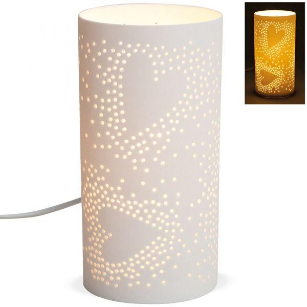 Tischlampe Nachttischlampe Herzen & Punkte 230 V Porzellan weiß 1 Stk Ø 10x20 cm
