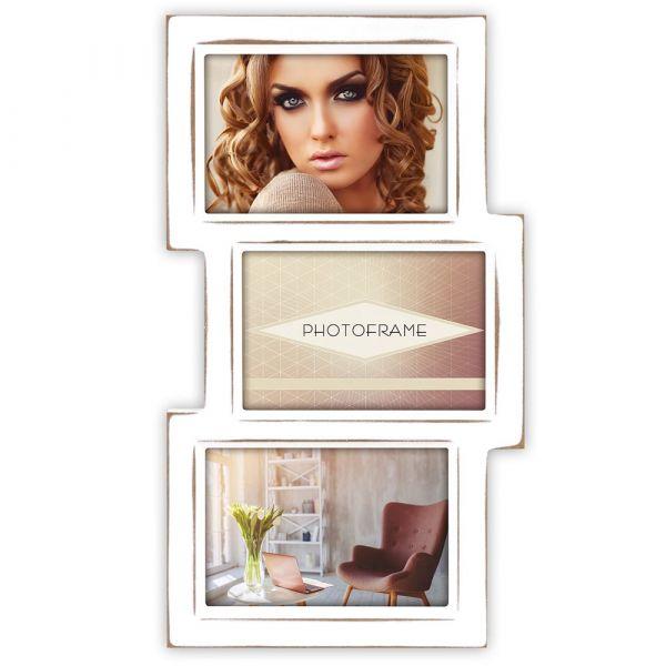 Bilderrahmen Collage Multirahmen Fotorahmen MDF Holz weiß 3 Fotos á 10x15 cm