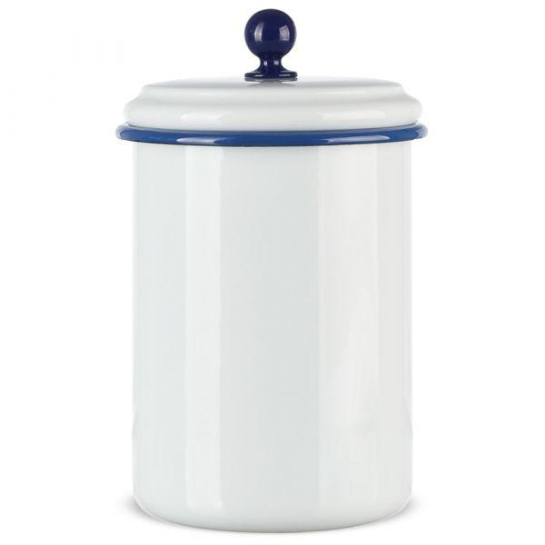 Email Retro Vorratsdose groß dicht schließender Deckel blau / weiß 1000 ml