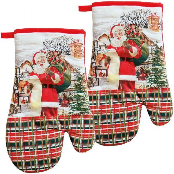 Topfhandschuhe Motiv Weihnachtsmann nostalgisch Druck & Biese 2er Set 17x28 cm