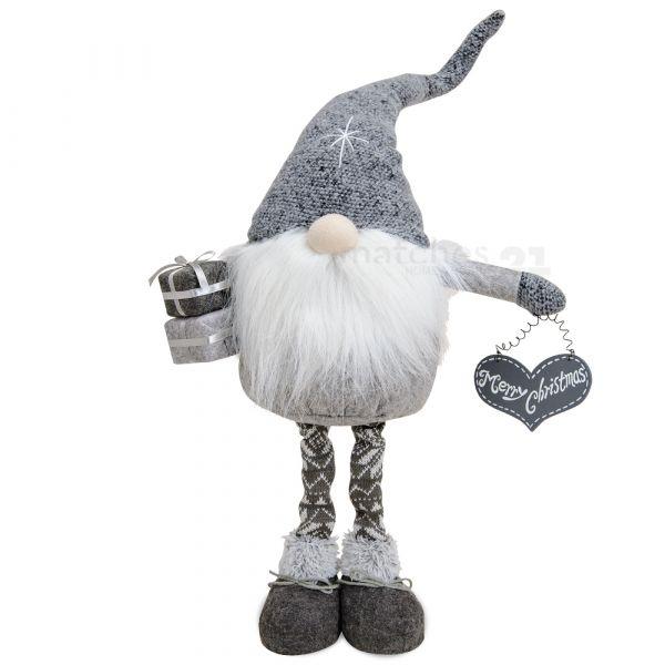 Großer Weihnachtswichtel Strick & Filz Merry Christmas Wichtel Figur 70 cm grau