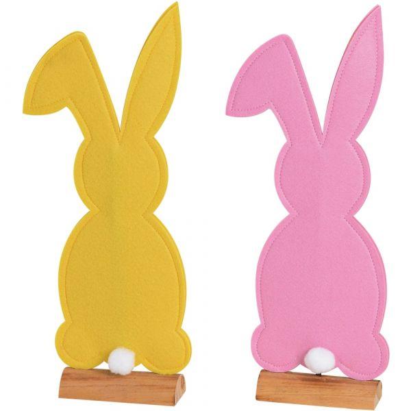Filzdeko Osterhasen Hasen Holzständer Osterdeko gelb & pink 2er Set - in 2 Größen