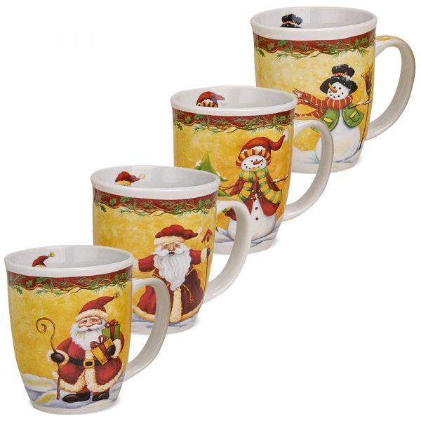 Tassen Becher Weihnachtstassen Keramik liebevolle Weihnachtsmotive 1 Stk. B-WARE