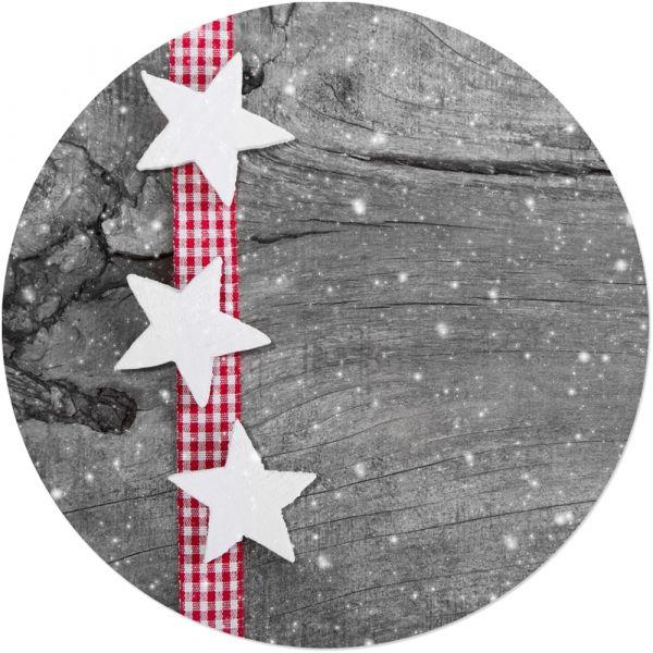 Tischset Platzset Weihnachten Sterne weiß & Holz 1 Stk. abwaschbar rund 38 cm