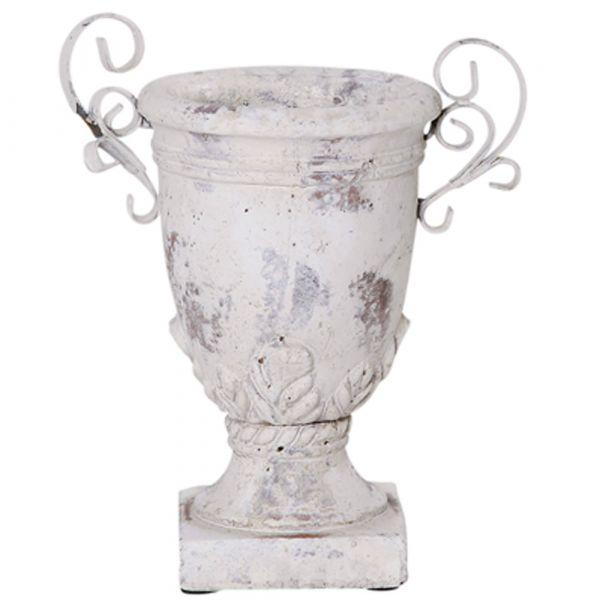 Pokal Verzierung Blumentopf Pflanztopf Keramik Vintage creme 1 Stk - 24x27 cm