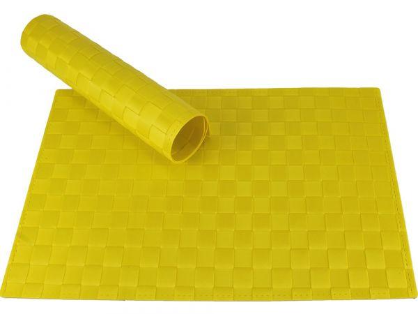 Tischset Platzset MODERN gelb geflochten Kunststoff 1 Stk. 45x30 cm