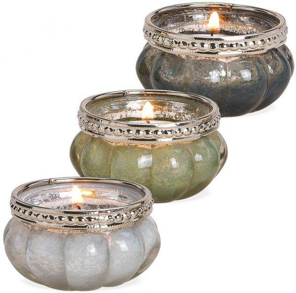 Windlichter Teelichtgläser Orient Glas Metall 3er Sets weiß grün grau – 2 Größen