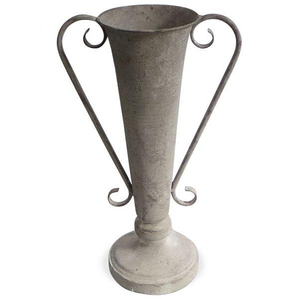 Amphore Vase Blumenvase Pflanzgefäß Kelchform & Griffe Metall grau 1 Stk 23x39,5 cm