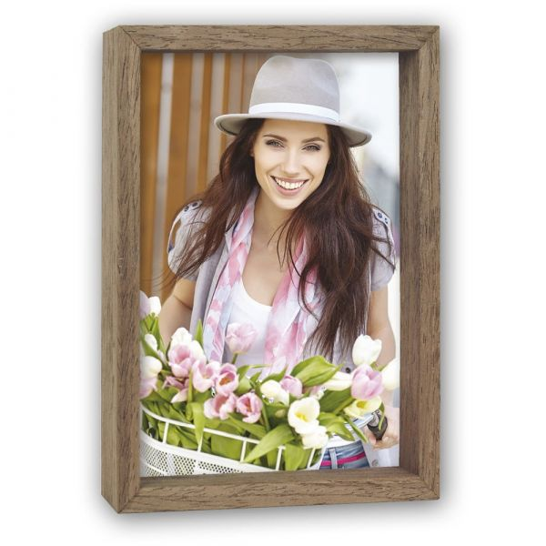 Bilderrahmen Fotorahmen Schaufenstereffekt / Tiefenwirkung Holz braun - 10x15 cm