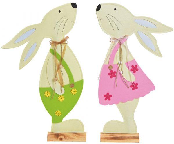 Filzdeko Osterhasen Hasen Holzständer Junge & Mädchen grün & pink 2er Set 2 Größen