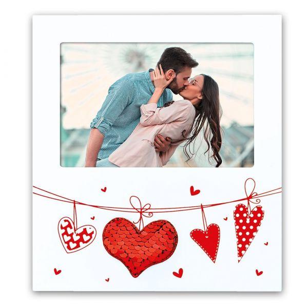 Bilderrahmen Holz weiß Herzen an Leine & Pailletten Herz Hochzeitsbilder 18x20 cm