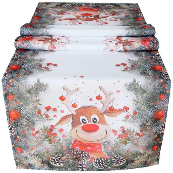 Tischläufer Mitteldecke Weihnachten witziger Elch weiß & Druck bunt 40x140 cm