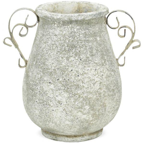Pflanztopf Pflanzgefäß Antikoptik Metallhenkel Keramik creme 1 Stk 23x18x23,5 cm