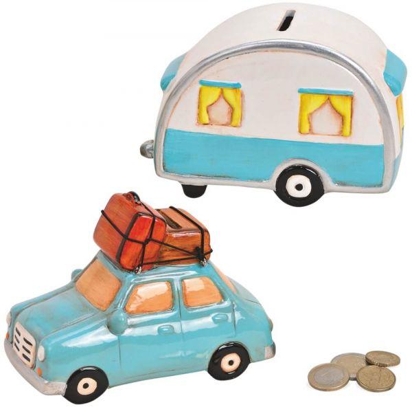 Spardose Auto & Wohnwagen Urlaubskasse 2-teilig Keramik Sparschwein je 15x10 cm
