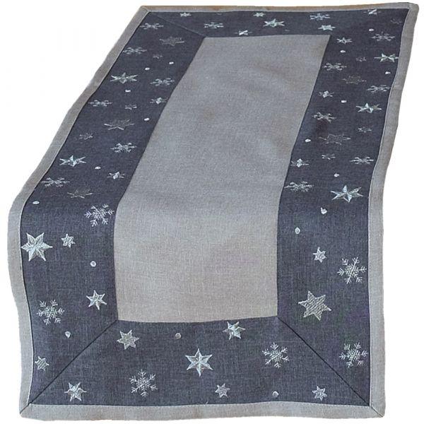 Tischläufer Mitteldecke Sterne Bordüre gestickt Weihnachten 40x90cm grau hellgrau