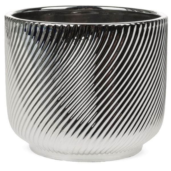 Blumentopf Keramik silber Rillen Glanz Übertopf Pflanzgefäß 1 Stk - Ø 10x9 cm