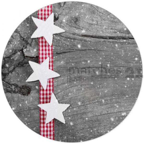 Tischset Platzset Weihnachten Sterne weiß & Holz 1 Stk. B-WARE rund 38 cm