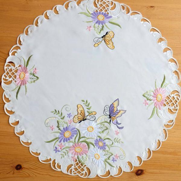 Mitteldecke Tischwäsche Schmetterlinge Blumen Zierkante Stick bunt Ø 60 cm rund