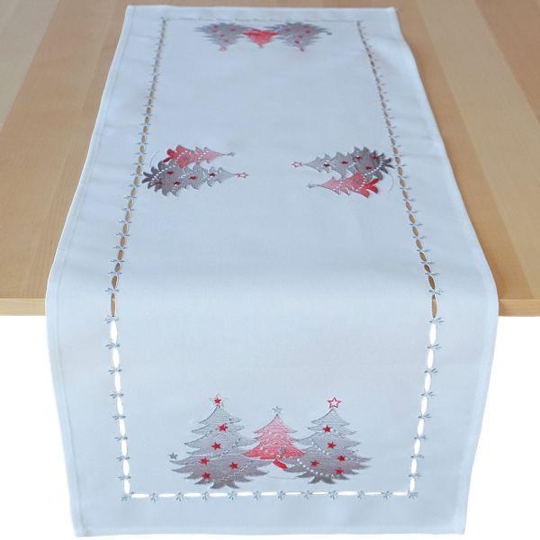 Tischläufer Mitteldecke Weihnachten Stick Tannenbäume rot silber 40x110 cm weiß