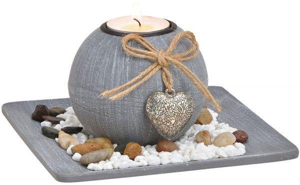 Windlichter auf Tablett mit Herzanhänger Geschenkset mit Dekosteinen grau 2-tlg