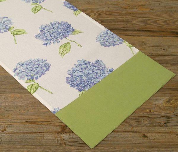 Tischläufer Mitteldecke Landhaus Premium LOTTE Hortensien Blüten 40x100 cm